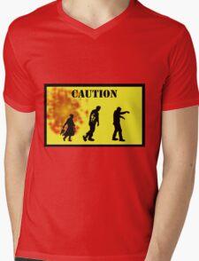 Caution! Mens V-Neck T-Shirt