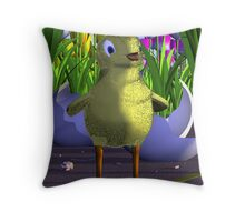 Chick is Born Among Tulips Throw Pillow