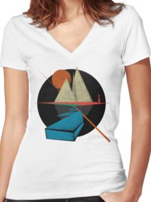 Mountain & Stars Women's Fitted V-Neck T-Shirt