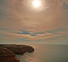 Moon and Halo from Cape Spencer by PABarrattArt
