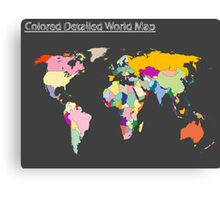 Colored detailed world map Canvas Print