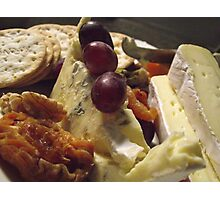 wine, walnuts, cheese and fruit  Photographic Print