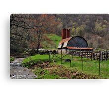 Barn by the Stream Canvas Print