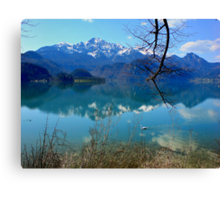 Blue Lake and Swan Canvas Print