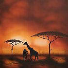 Giraffes at Twilight by Shirley Shelton