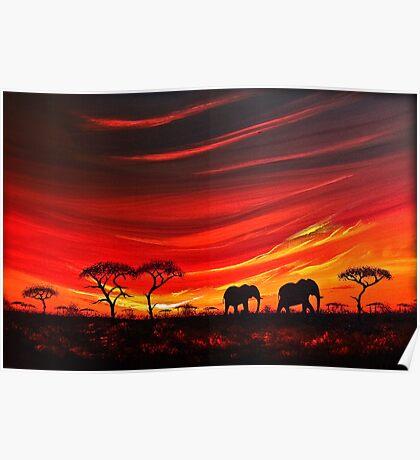 Two Elephants on the Horizon Poster