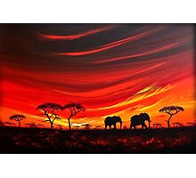 Two Elephants on the Horizon Photographic Print