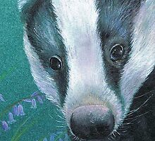 Badger in the bluebell woods by Sarah Trett