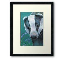 Badger in the bluebell woods Framed Print