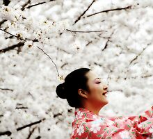 Asian Woman Dancing in Cherry Blossom Heaven by Rebecca  Haegele