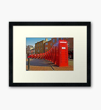 London Red Phone Boxes Art - Kingston Upon Thames Framed Print