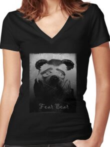 Fear Bear Tee Women's Fitted V-Neck T-Shirt