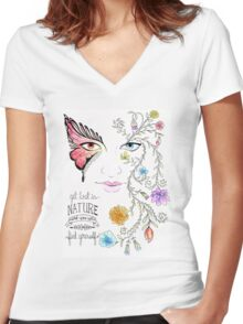 Lost in Nature Women's Fitted V-Neck T-Shirt