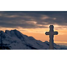 Crucifix against the sunset Photographic Print