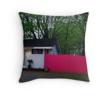 Pink Fence Throw Pillow