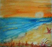 Bright  Orange Sunset on Shoreline, watercolor by Anna  Lewis