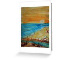Bright  Orange Sunset on Shoreline, watercolor Greeting Card