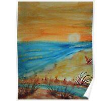 Bright  Orange Sunset on Shoreline, watercolor Poster