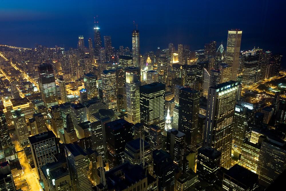 Skyline of Chicago by night by danwa