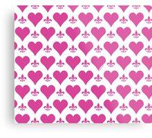 Pink Hearts and Fleur de Lis Pattern Metal Print