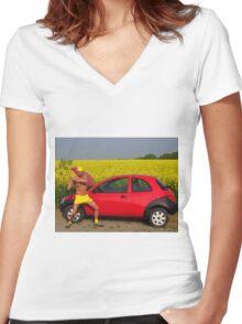 Damn Good Thrashing  Women's Fitted V-Neck T-Shirt