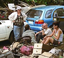 Brisbane Floods 2011 - Clean Up - Weary Workers by Neil Ross
