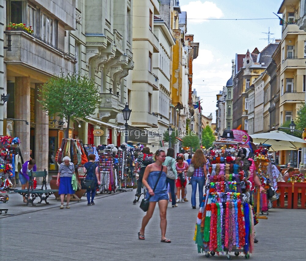 Street market, Vaci Ulca, Budapest, Hungary by Margaret  Hyde