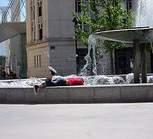 Boy in a fountain by desertman