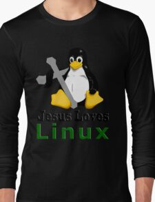 Jesus Loves Linux Long Sleeve T-Shirt