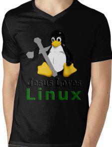 Jesus Loves Linux Mens V-Neck T-Shirt