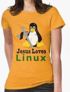 Jesus Loves Linux Womens Fitted T-Shirt