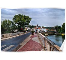 Old Bridge in Tomar and Cobblestone Pathway Poster