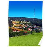 Green grass, the village and a transmitter pole Poster