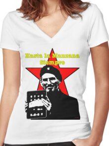 Hasta la Manzana siempre Women's Fitted V-Neck T-Shirt