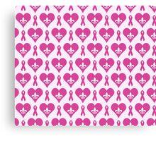 Think Pink Hearts and Fleur de Lis Pattern Canvas Print