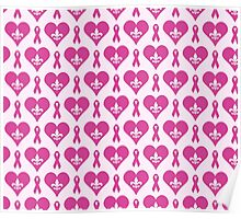 Think Pink Hearts and Fleur de Lis Pattern Poster