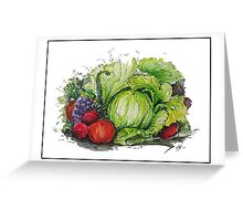 Lettuce Eat - Watercolour and Ink Painting  Greeting Card