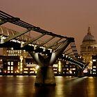 Millennium Bridge & St Paul's Cathedral, London by strangelight