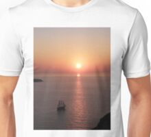 Sailing By Sunset - Oia Santorini- Greece Unisex T-Shirt