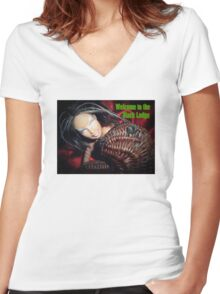 Marbie And Wicker Sqrl At The Black Lodge tee Women's Fitted V-Neck T-Shirt