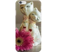 Vintage cats with gerbera daisy iPhone Case/Skin