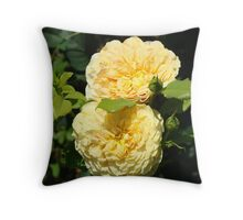 Beautiful Double Rose Yellow Peach Rose Flowers art Throw Pillow