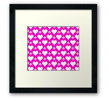 White and Pink Hearts and Fleur de Lis Pattern Framed Print