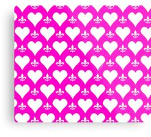 White and Pink Hearts and Fleur de Lis Pattern Metal Print