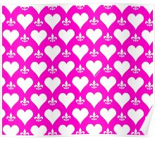 White and Pink Hearts and Fleur de Lis Pattern Poster
