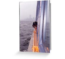 Little lady looking out of the boat  Greeting Card