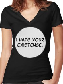MANGA BUBBLES - I HATE YOUR EXISTENCE Women's Fitted V-Neck T-Shirt