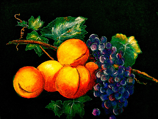 Still Life with Peaches and Grapes.. by © Janis Zroback