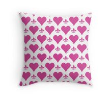 Pink Hearts and Fleur de Lis Pattern Throw Pillow