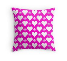 White and Pink Hearts and Fleur de Lis Pattern Throw Pillow